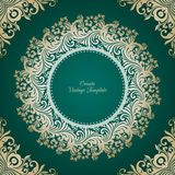 Vector decorative background with ornamental  round frame. Vector decorative green background with round ornamental  frame Royalty Free Stock Images