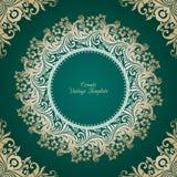 Vector decorative background with ornamental round frame. Vector decorative green background with round ornamental frame Stock Illustration