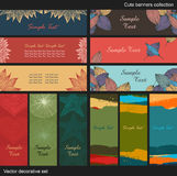 Vector decorative banners. Collection of cute backgrounds Royalty Free Stock Photo