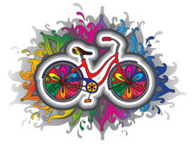 Vector decorative bicycle. Vector decorative beautiful bicycle with a lot of details and colors stock illustration