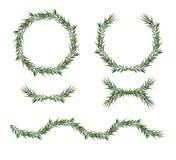Vector, decorative big element set. Eucalyptus green Leaves round Wreath, greenery branches, garland, border, frame. Elegant. Designer watercolor objects vector illustration