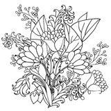 Vector decorative black and white flowers Royalty Free Stock Image