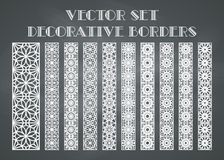 Vector decorative borders. Design elements and page decoration. Vector set of borders on chalkboard background Royalty Free Stock Photos
