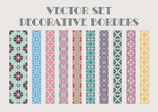 Vector decorative borders. Design elements and page decoration. Vector set of color mosaic borders Royalty Free Stock Photos