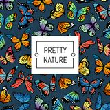 Vector decorative butterflies pattern colored background illustration royalty free illustration