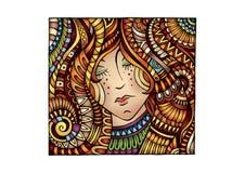 Vector decorative cartoon red hair girl Stock Photos