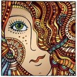 Vector decorative cartoon red hair girl Royalty Free Stock Photography