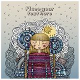 Vector decorative cartoon winter girl postcard Royalty Free Stock Photos