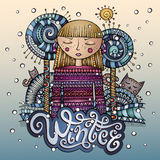 Vector decorative cartoon winter girl postcard Stock Photo