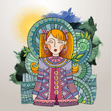 Vector decorative cartoon young woman Royalty Free Stock Photo