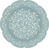 Vector decorative ceramic or porcelain plate with round ornament in ethnic oriental style. Abstract floral lace pattern with pomeg. Ranates. Intricate, fanciful stock illustration