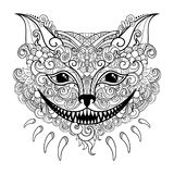 Vector Decorative Cheshire Cat. Isolated Fictitious Animal On White Background Royalty Free Stock Photos