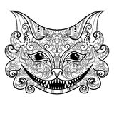 Vector Decorative Cheshire Cat. Isolated Fictitious Animal On White Background. Zentangle Style Royalty Free Stock Photos