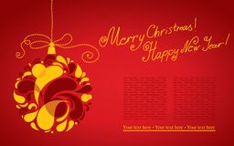 Vector decorative Christmas background with ball Royalty Free Stock Images