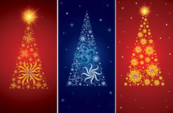 Vector decorative Christmas tree backgrounds. Set of Vector decorative shining cute Christmas tree backgrounds (from my Christmas collection Stock Photography
