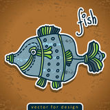 Vector decorative doodle fish Royalty Free Stock Photo
