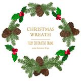 Merry Christmas wreath, new year decoration with pine branches and cones. Vector decorative elements for design greeting card, Invitation, banner or poster on Royalty Free Stock Photos