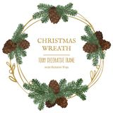 Merry Christmas wreath, new year decoration with pine branches and cones. Vector decorative elements for design greeting card, Invitation, banner or poster on Stock Images