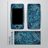 Vector decorative ethnic background on phone Royalty Free Stock Photos