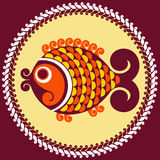 Vector decorative fish. In a folk style Royalty Free Stock Photography