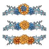 Vector  Decorative floral element of succulents Stock Image