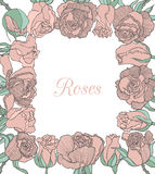 Vector decorative floral frame with pink roses Stock Image