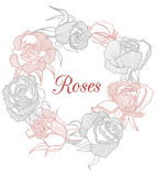 Vector decorative floral  garland with roses Stock Photos