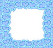Vector decorative frame with blue ornamental figured hearts Stock Photos