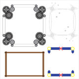 Vector of decorative frame gear wood. Vector of decorative frame toys, cog, tooth, wood and O X gear vector illustration