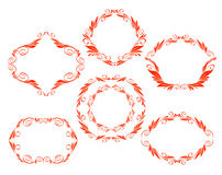 Vector decorative frames. Kaligraficheskih border design red vector illustration