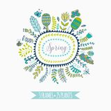 Vector decorative frames and leaf. Spring elements. Floral doodles. Stock Images