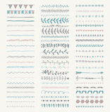 Vector Decorative Hand Drawn Dividers, Line Borders Stock Photo