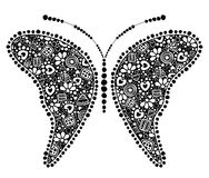 Vector decorative hand drawn insect illustration. Black and white butterfly  Stock Photos