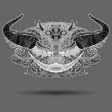 Vector Decorative Head of Demon. Isolated Fictitious Creature Royalty Free Stock Photos