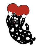 Vector decorative heart painted black cat with red heart. Vector illustration with decorative heart painted black cat with red heart. Template for design Royalty Free Stock Image