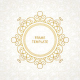 Vector decorative line art frame for design template. Royalty Free Stock Photos