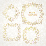 Vector decorative line art frame for design template. Stock Images
