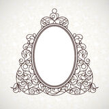 Vector decorative line art frame in Eastern style. Royalty Free Stock Photos
