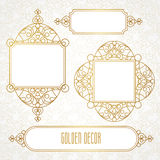 Vector decorative line art frames in Eastern style. Stock Images
