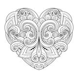 Vector Decorative Monochrome Abstract Heart Stock Image