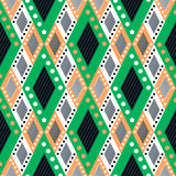 Vector decorative ornamental geometric background with asymmetrical rhombus in green colors. Stock Image
