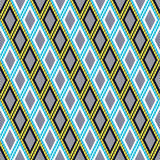 Vector decorative ornamental geometric background with rhombus in blue, yellow and white colors Stock Image