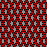 Vector decorative ornamental geometric background with rhombus in red and black colors. Royalty Free Stock Images