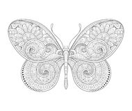 Vector Decorative Ornate Butterfly. Monochrome Illustration of Exotic Insect. Patterned Design Element Stock Photography