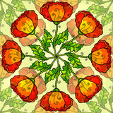 Vector decorative ornate poppy flowers circle Stock Images