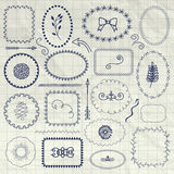 Vector Decorative Pen Drawing Borders, Frames, Elements Royalty Free Stock Photography