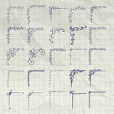 Vector Decorative Pen Drawing Outlined Corners on Crumpled Paper Stock Image