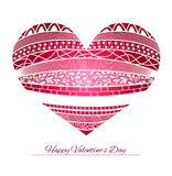 Vector Decorative Pink Abstract Heart. Valentine's Day Greeting Card. Stock Images
