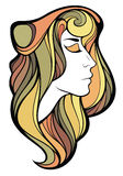 Vector decorative portrait of shaman girl with color long hair i Royalty Free Stock Photo