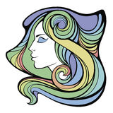 Vector decorative portrait of shaman girl with color long hair Royalty Free Stock Image
